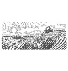 Spring rural landscape with two tractors vector