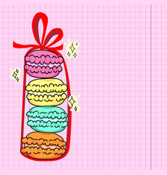 Stack bright macarons with red ribbon and bow vector