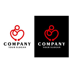 stethoscope family care love symbol logo vector image