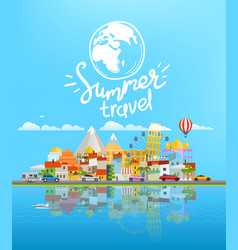 summer travel landscape with different vehicles vector image