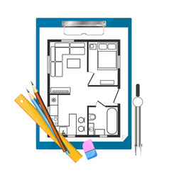 tablet paper and drawing apartment plan vector image