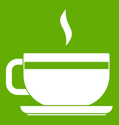 tea cup and saucer icon green vector image