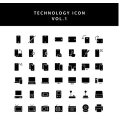 technology glyph style icon set vol1 vector image