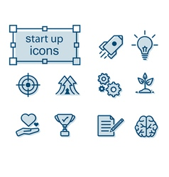 Thin line icons set Start up vector