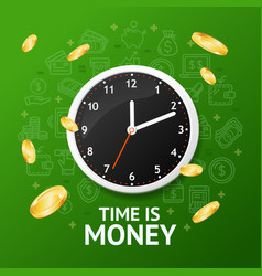 time is money concept with realistic detailed 3d vector image