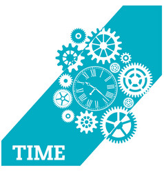 time watch gears cog blue background image vector image