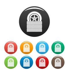 tire leap icons set color vector image