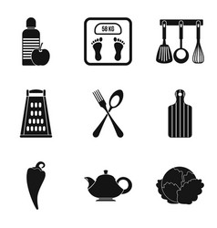 Useful food eatery icons set simple style vector