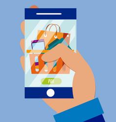 using smartphone to buy online vector image
