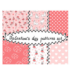 Valentines day seamless patterns set vector