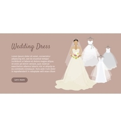 Wedding Dress Web Banner Fashionable Bride vector image