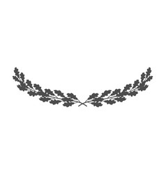 Wide oak wreath icon isolated on white background vector