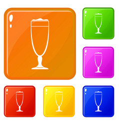 wine glass icons set color vector image