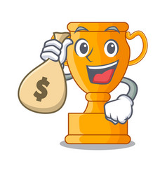 With money bag character gold trophy award for vector