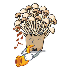 With trumpet enoki mushroom mascot cartoon vector