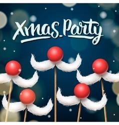 Xmas Party template Santa moustache vector image vector image