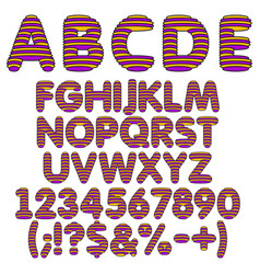 Yellow and purple alphabet letters numbers vector