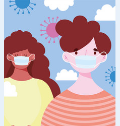 Young man and woman wearing medical mask vector