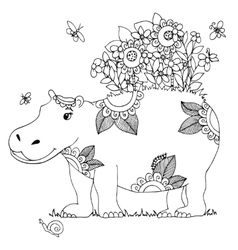 Zen tangle hippo with flowers vector