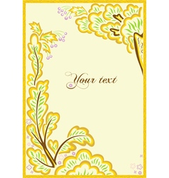beautiful frame from leaves and flowers vector image