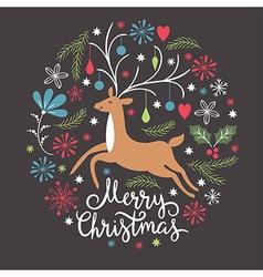 Christmas card christmas deer vector