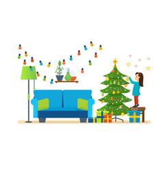Girl decorates xmas tree festive toys garlands vector
