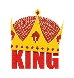 Gold crown with diamonds crown for king ro vector