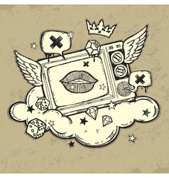 grunge tv design vector image vector image
