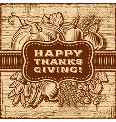 Happy Thanksgiving Retro Card Brown vector image