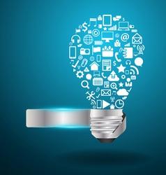 Light bulb idea with social media application icon vector image