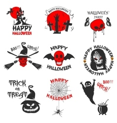 Set of halloween party labels badges and design vector image vector image