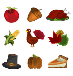 set of thanksgiving day apple acorn turkey corn vector image
