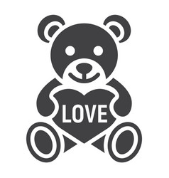 teddy bear with heart glyph icon valentines day vector image vector image