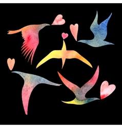 watercolor bird lovers vector image vector image