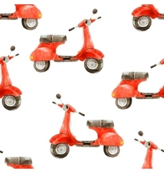 watercolor seamless pattern with scooter vector image vector image