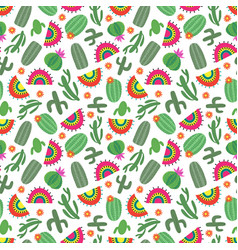 bright mexican style seamless pattern with cactus vector image