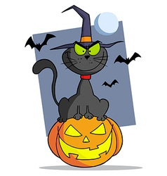 Cartoon Halloween Cat On Pumpkin vector image vector image