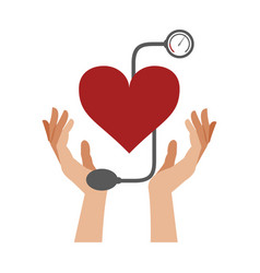 Hand holding blood pressure cuff vector