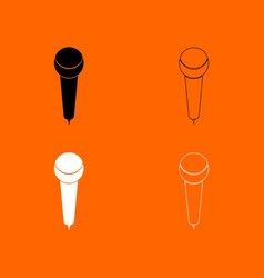 microphone black and white set icon vector image vector image