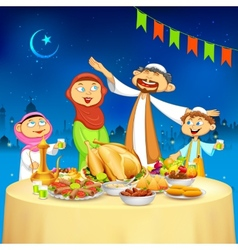 Muslim family in Iftar party vector image