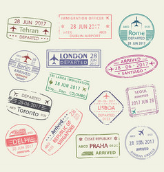 passport stamp of travel visa isolated set design vector image vector image