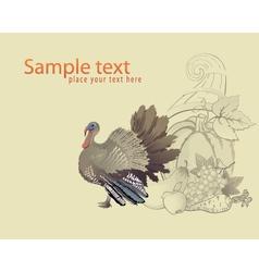Thanksgiving turkey and cornucopia vector image