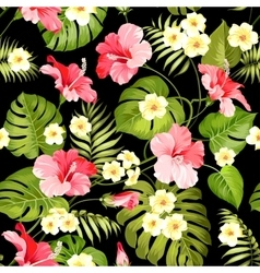 Tropical flowers and jungle palms vector image vector image
