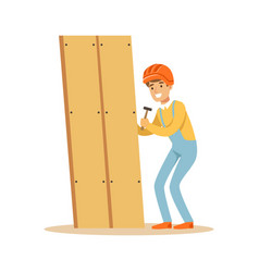 Young smiling carpenter man building new furniture vector