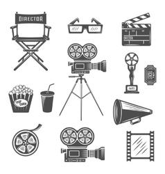 Cinema Black White Icons Set vector image vector image