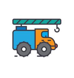 crane truck construction vehicle flat line vector image vector image