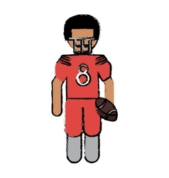 drawing american football player with helmet and vector image vector image