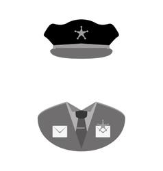 grayscale police uniform icon image vector image