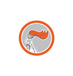 Hand Holding Flaming Torch Circle Retro vector image vector image