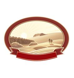 rural landscape in the frame a graphic design vector image